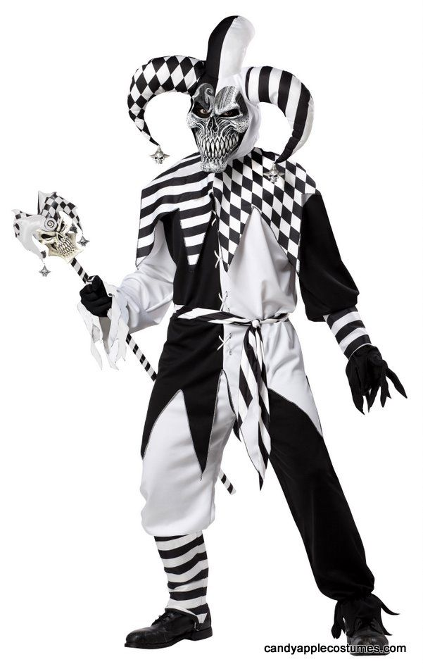 Adult Nobody's Fool Evil Jester Costume - Black and White Costumes