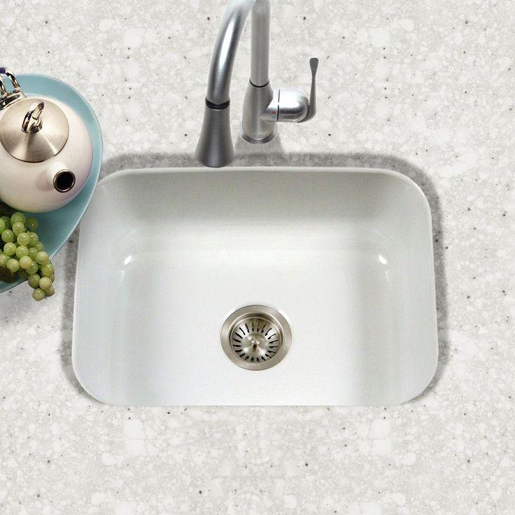 HOUZER Porcela Series Undermount Porcelain Enamel Steel 16