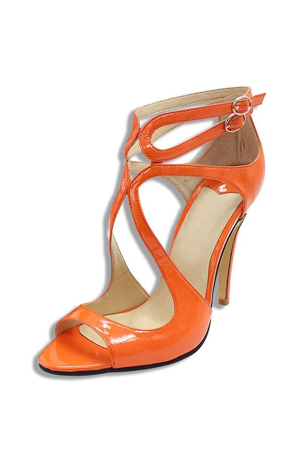 Sleek Ankle Strap Sandals in Orange