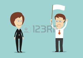 Zakenman met opgeheven handen en witte vlag toegegeven nederlaag in conflict met zijn vrouwelijke collega