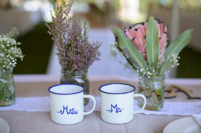 Mr and Mrs enamel mugs   SouthBound Bride   http://www.southboundbride.com/rustic-riverside-lowveld-wedding-by-kim-tracey   Credit: Kim Tracey