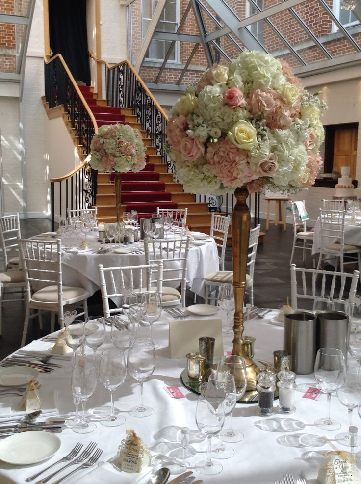 Beautiful Luxe Tall Table Displays With Ivory And Blush Roses Hydrangeas Gypsophila Using