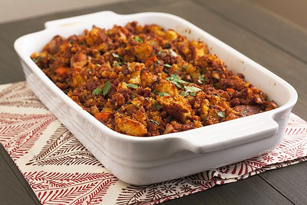 ... seriously flavorful stuffing recipe made with cornbread and chorizo
