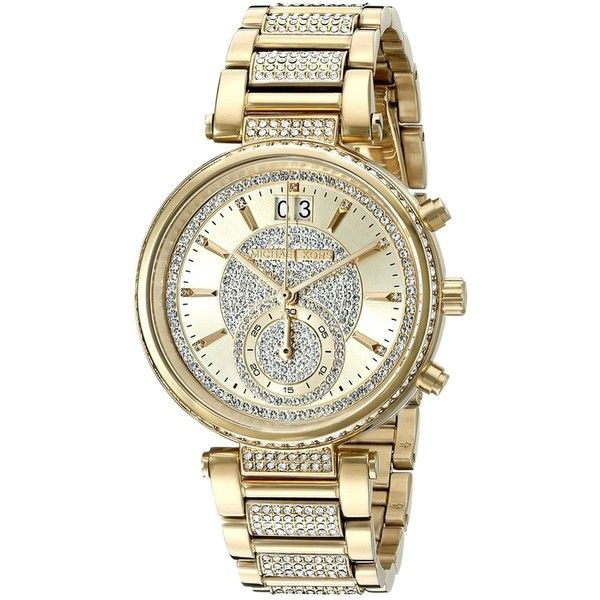 Pre-owned Michael Kors Sawyer Mk6308 Gold Tone Stainless Pave Crystal... ($295) ❤ liked on Polyvore featuring jewelry, watches, accessories, gold, pre owned watches, gold-tone watches, michael kors watches, pre owned jewelry and crystal watches