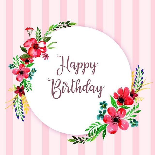 ألوان مائية اللون زهري زهور ورقة الشجر اوراق اشجار خلفية ورق الجدران خلفية الإطار دائرة جميلة أنيق يد Happy Birthday Floral Happy Birthday Frame Happy Birthday