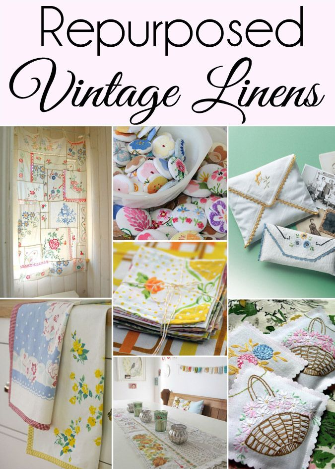 If you have a collection of Vintage Linens you will love this roundup of 15 Cute Ways to Repurpose and Upcycle Vintage Linens. (#9 is my favorite!) Included are even a few vintage linen crafts and vintage linen home decor. #seasonedhome