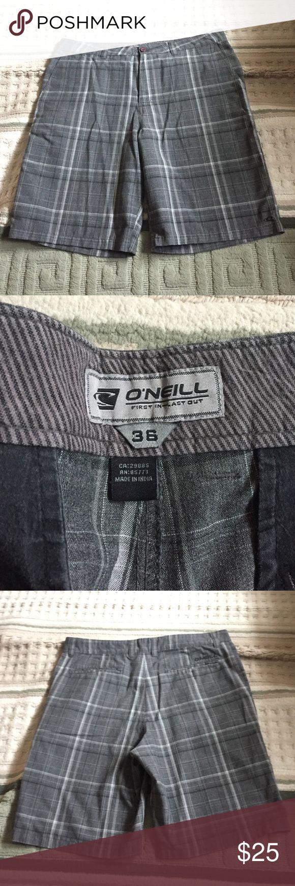 O'NEILL plaid shorts O'Neill plaid gray shorts O'Neill Shorts Flat Front