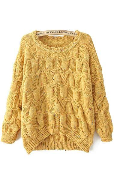 Sweater Love! Cozy Yellow Round Neck Long Sleeves Loose Knit Sweater #Cozy #Yellow #Loose #Knit  #Sweater #Fashion