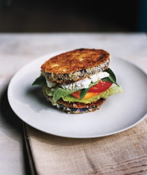 "eggplant ""sandwiches"" - fried eggplant layered w/lettuce, tomato, basil, & feta - simple recipe, amazing flavor combination. (could use almond and coconut flour instead of breadcrumbs)"
