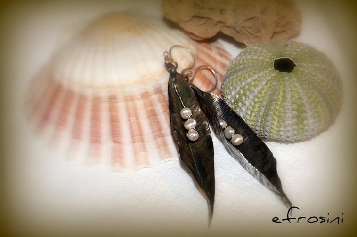 efrosini  Handmade metalwork fold forming earrings