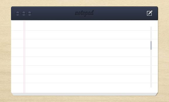 Notepad UI template free PSD