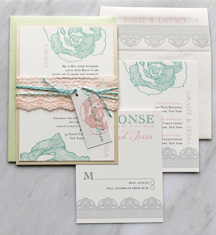 mint wedding invites   Wedding