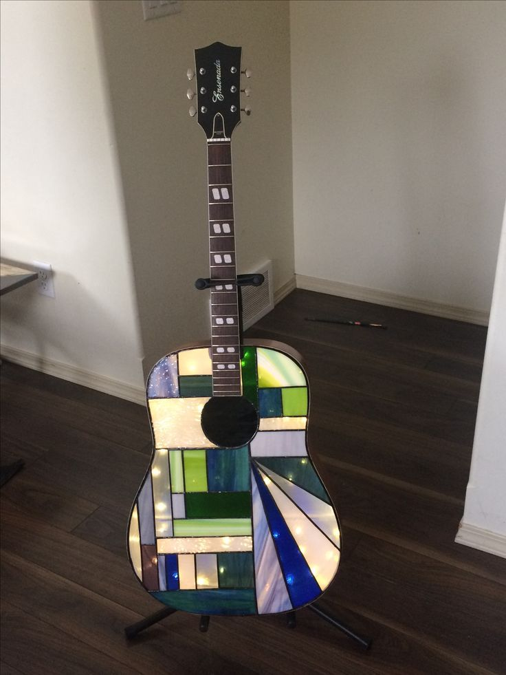 Stained Glass Acoustic Guitar Lamp Stained Glass Art Stained Glass Patterns Stained Glass Projects