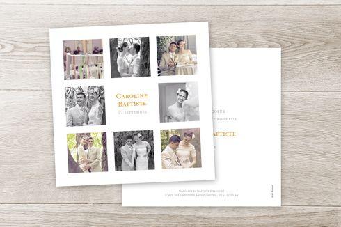 carte de remerciement mariage simple 8 photos by Sibylle Derkenne pour www.fairepart.fr #wedding #merci