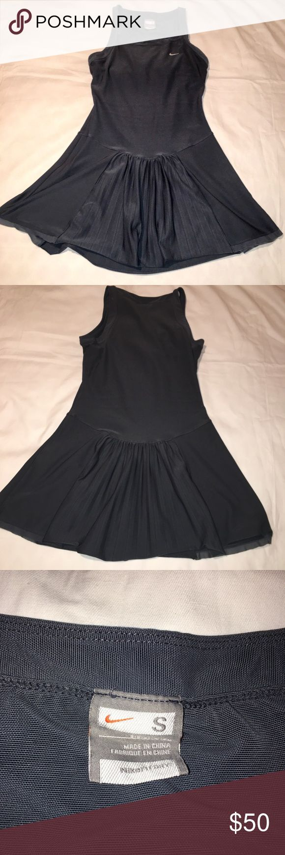 Nike Tennis Racerback Pleated Dress This Nike Tennis Dress is in GUC. There is a pin sized hole on the back as pictured. No other damage or fading. The dress features a racer back and front pleating. Nike Dresses