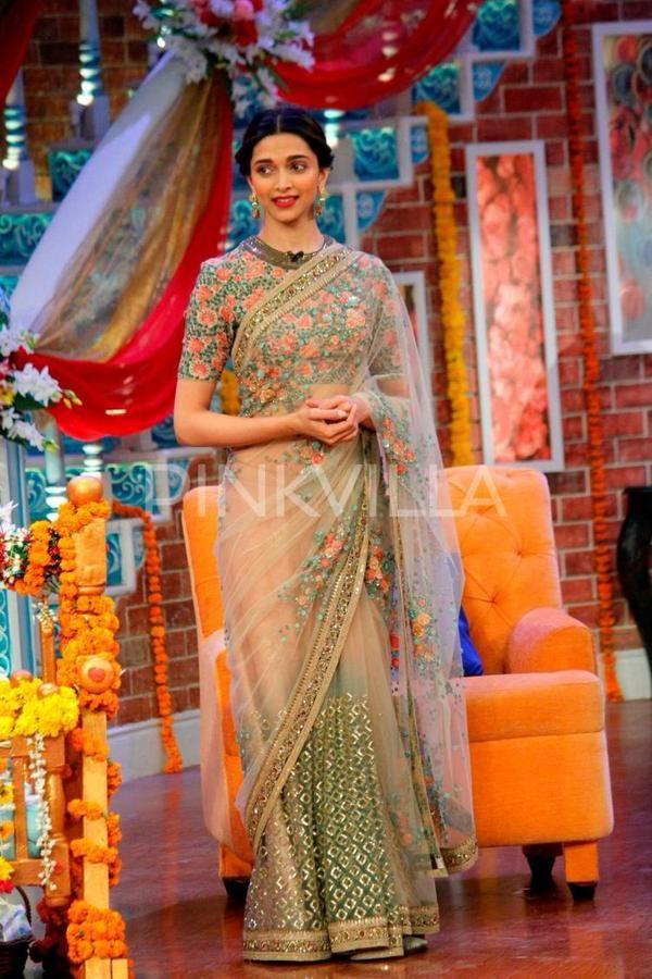 Deepika Padukone Promotes Piku in Comedy Nights With Kapil in sabyasachi saree