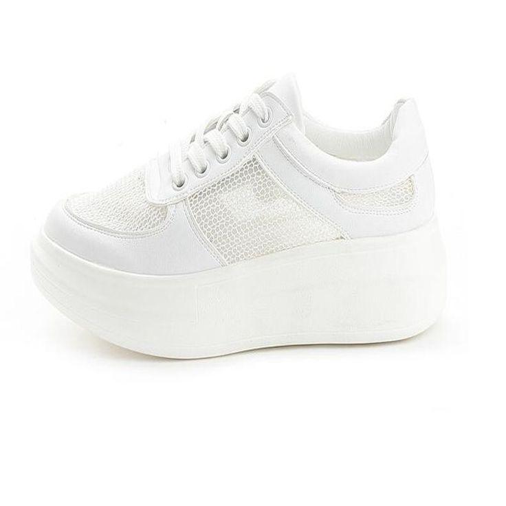 Coréen d'été loisirs sport chaussures avec fond épais blanc gaze dentelle  filles chaussures de