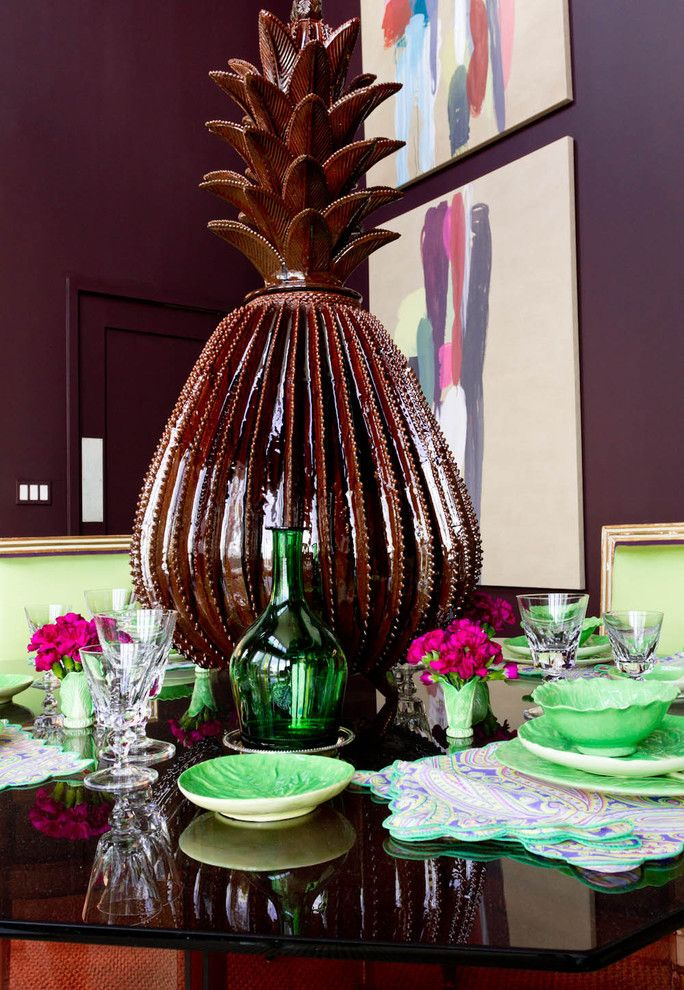 egg plant, walls, paint, color, lime, dining chairs, pineapple, vase, conversation piece, starter, plates, hanging lights, zebra bench, louis xvi, upholstered, mirrored table (4)
