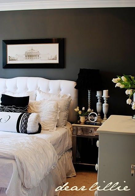 Love the Kendall Charcoal color & White/Black accents for the bedroom. South Shore Decorating Blog: The Top 100 Benjamin Moore Paint Colors