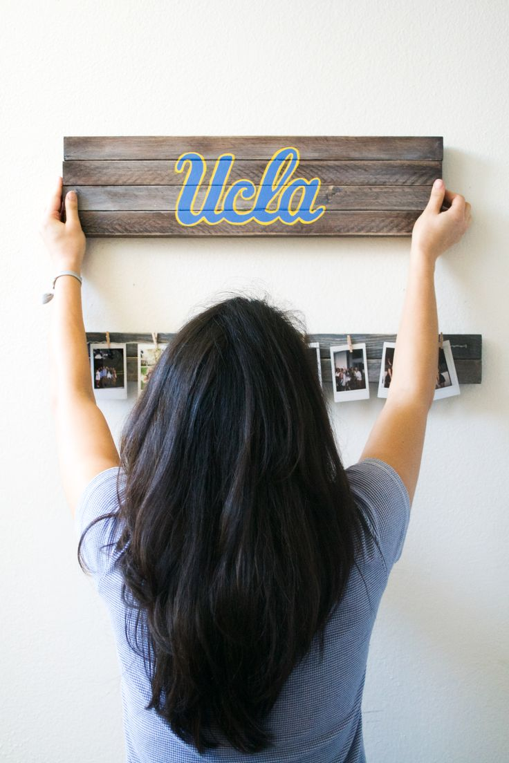 Wooden college logo sign, perfect for apartment or dorm decor to show your school spirit! Go UCLA Bruins!