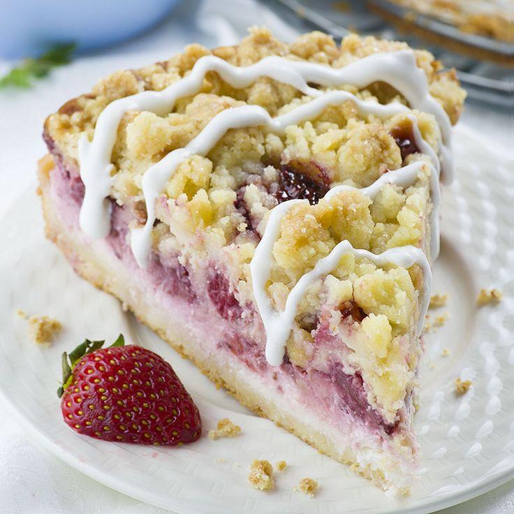 Strawberry Cheesecake Coffee Cake - Chocolate Dessert Recipes - OMG Chocolate Desserts