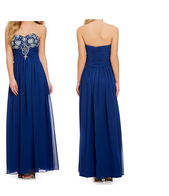 Blue, long dress with a lovely jeweled design. (Homecoming)