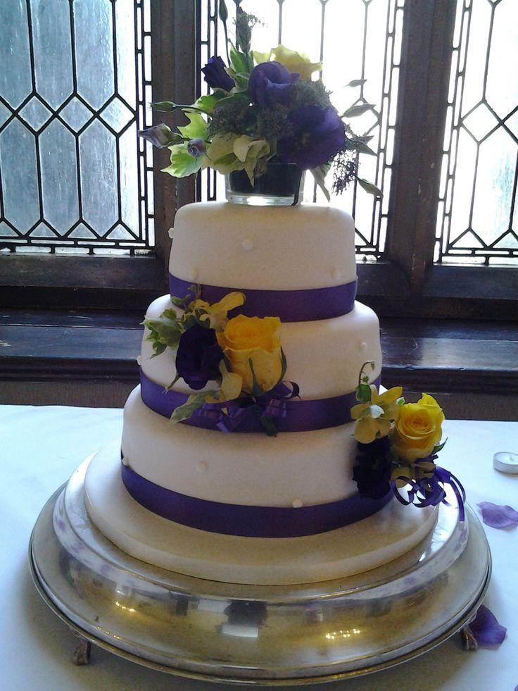 Purple and yellow cake decoration