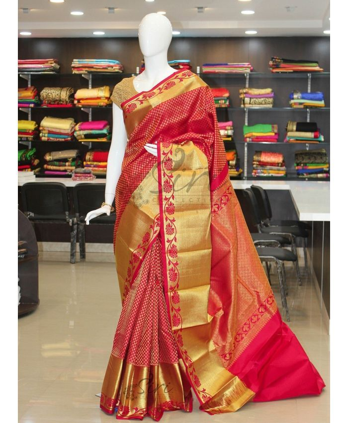 Pure Authentic Kanchipuram Silk Saree in Big Rich Border Pallu