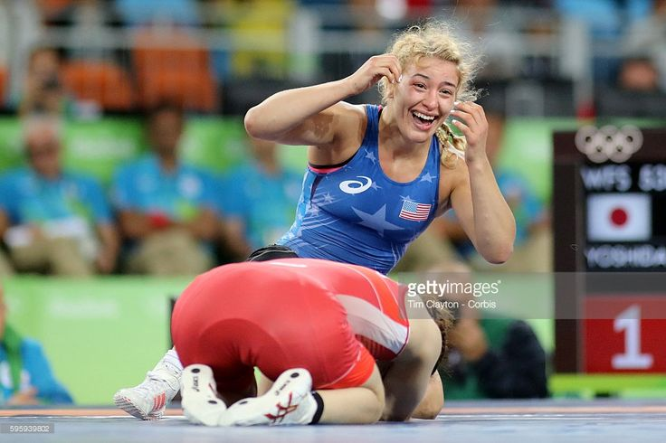 Day 13 Helen Louise Maroulis of the United States reacts after winning the Gold Medal against Saori Yoshida of Japan in the Women's Freestyle 53 kg FinalWrestling match at the Carioca Arena 2 on August 18, 2016 in Rio de Janeiro, Brazil.