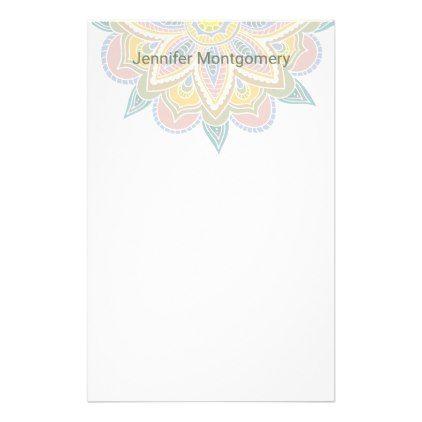 Pastel BoHo Mandala Custom Stationery - chic design idea diy elegant beautiful stylish modern exclusive trendy