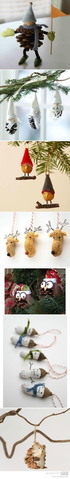 Christmas DIY tree ornaments...from pine cones and such. Cute for kids to make for gifts to each other or teachers.