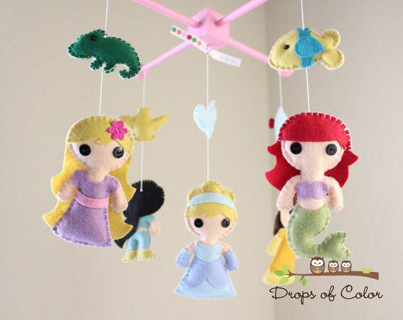 Baby Mobile - Baby Crib Mobile - Princess Mobile - Girl Nursery Room Decor - Disney Princesses (You Can Pick Other Custom from dropsofcolorshop on Etsy.