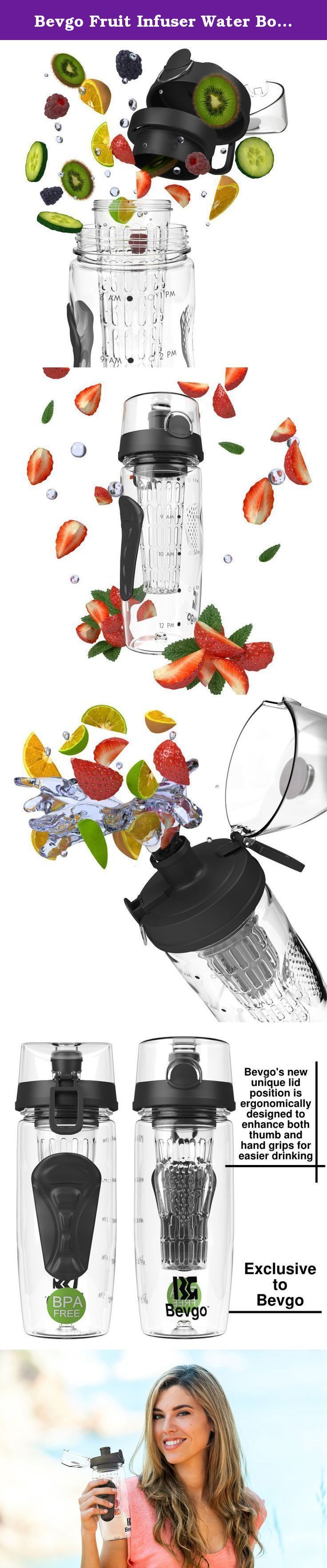 """Bevgo Fruit Infuser Water Bottle - Large 32oz - Intergrated Timeline on all Bottles - Save Your Money and Hydrate the Healthy Way - Multiple Colors with Recipe Book Gift Included. HOW OFTEN HAVE YOU SAID """"I DON'T DRINK ENOUGH WATER, BUT I WANT TO""""? What better way to refuel and stay hydrated than with fresh fruit. The Bevgo Fruit Infuser Water Bottle is the original and best made infuser on the market. It's perfect for the office, gym, yoga, hiking, camping, travelling and even the kids…"""