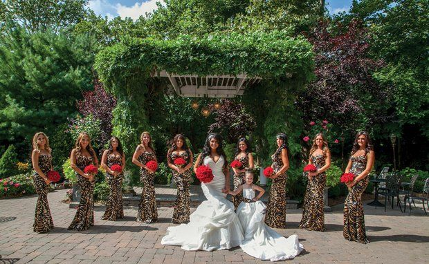A little animal print never hurt anybody! Tracy DiMarco weds Corey Eps at Nanina's in the Park ~ Click to see all the Jerseylicious details of this wedding in Belleville!