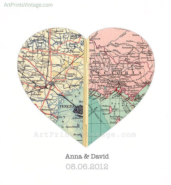 Custom Map Art Wall Decor for Engagement Gift Wedding Gift Heart Map Print - Personalized with 2 Favorite Locations - faux stitched middle on Etsy, $84.00