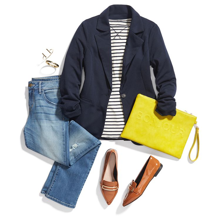 Elevate a striped tee and relaxed denim with a classic blazer and a pop-color clutch. Love this effortless look? Sign up for Stitch Fix for fashion finds & style tips like these!