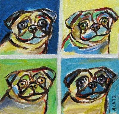 Pugs smile pop art original dog painting 8 x 8 by petartbyangie, $85.00