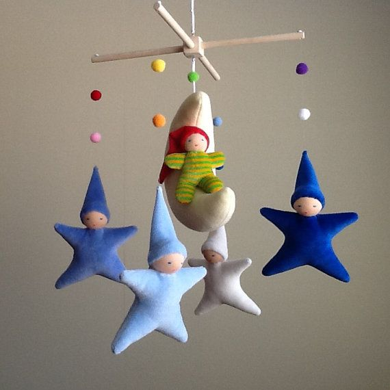 Little Gnome Mobile: light yellow moon blue stars & by CutenSoft