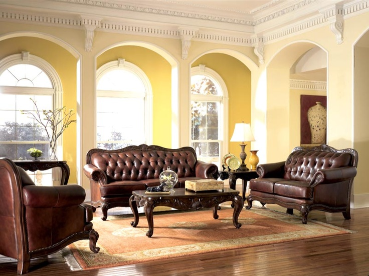 Modern Sectional Sofas Victorian Style Leather Sofa Love Seat u Chair Set