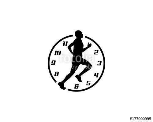 Vector: Run icon, rush hour, clock