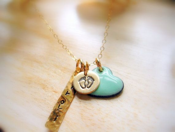 New Mom Charm Necklace Push Gift  Golden Name by NatsukoJewelry, $70.00