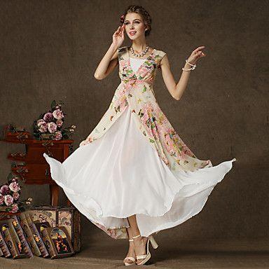 Women's+Casual/Print+Inelastic+Sleeveless+Maxi+Dress+(Chiffon)+–+USD+$+27.99