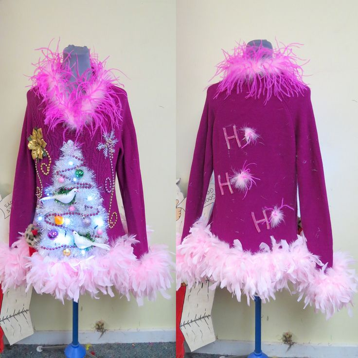 Vision in Pink Christmas 2 Doves Pears in White Garland Christmas Tree Ugly Christmas Sweater Light UP Sweater, Size Small -M Pink boa