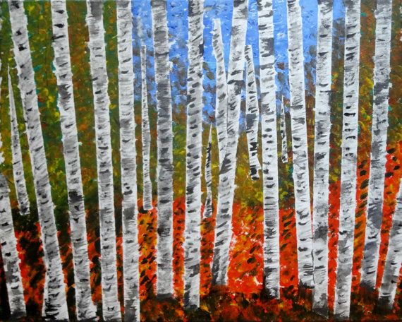 New Year Gift Sale Original Acrylic Autumn Aspen Birch Tree Forest Contemporary Art Fall Colors Canvas Painting Living RoomsLiving Room Wall DecorLiving