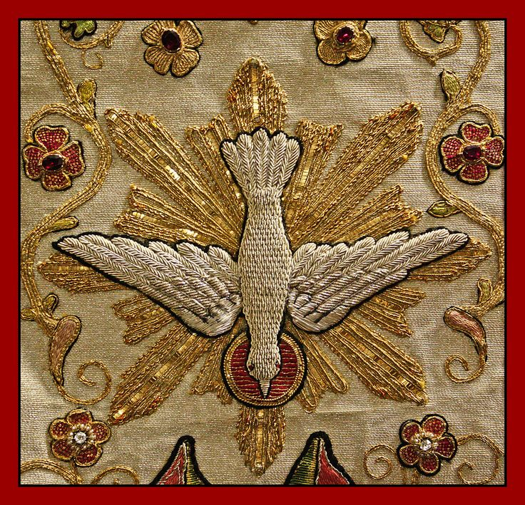This is a detail from a chasuble embroidered by the Dominican sisters of Stone, Staffordshire.