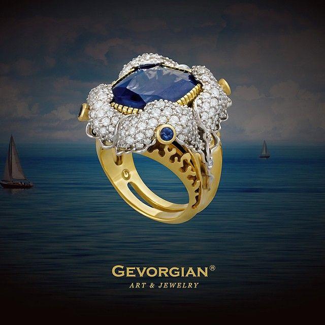 "Кольцо ""Океанская гладь"" #GEVORGIAN #ring #jewelry #шпинель #бриллианты #diamond #art #brand #finejewelry #ювелирныйдом www.gevorgian.ru"