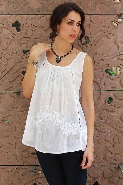 3f64d13c636395 Hand Embroidered Sleeveless White Cotton Smock Top - Floral Whisper   NOVICA