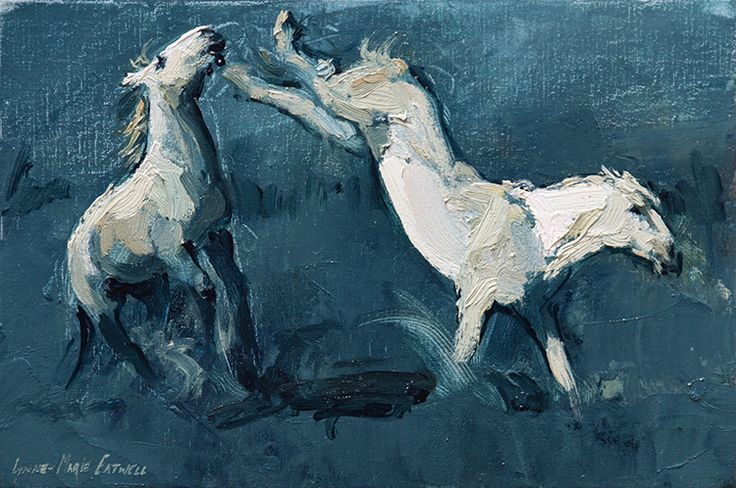Oil painting by Lynne-Marie Eatwell, Fighting Stallions, Camargue horses, Equine Art