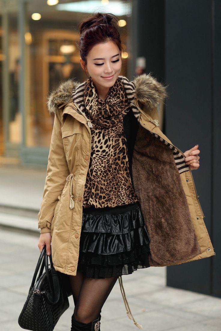 Momens Faux Fur Long Hooded Coat