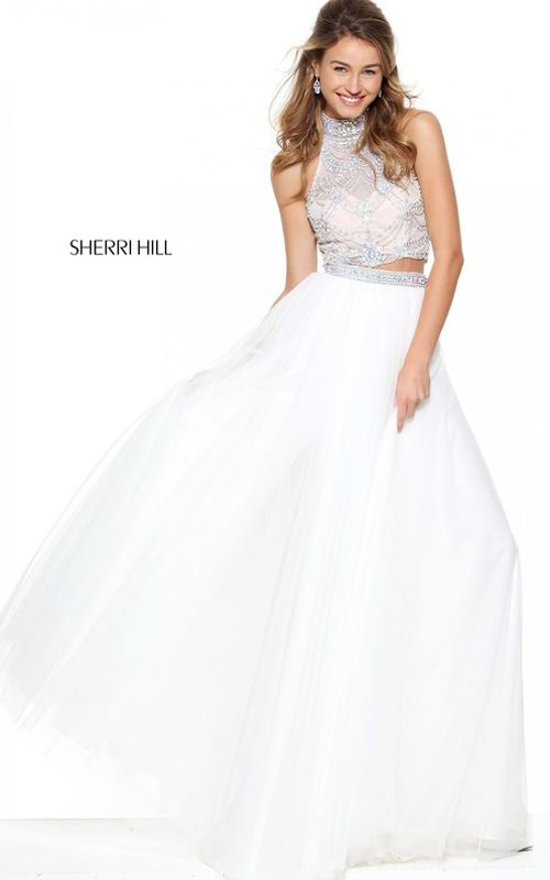 Two Pieces Sherri Hill 50704 White Beaded 2017 Prom Dress